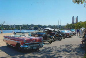 A Line of Cars on Bar Beach
