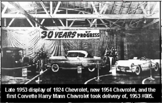 late 1953 display of 1924 Chevrolets